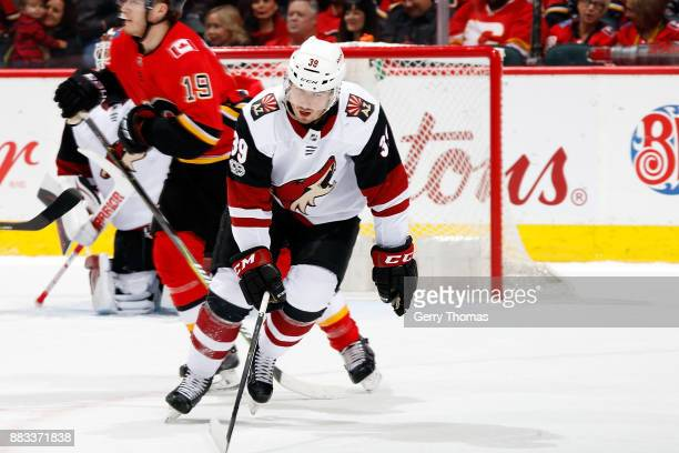 Joel Hanley of the Arizona Coyotes skates against the Calgary Flames during an NHL game on November 30 2017 at the Scotiabank Saddledome in Calgary...