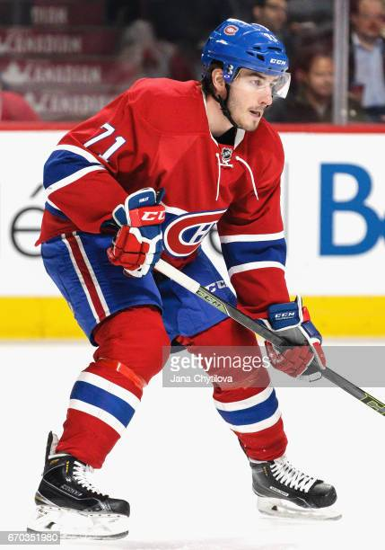 Joel Hanley of the Montreal Canadiens plays in the game against the Detroit Red Wings at Bell Centre on March 29 2016 in Montreal Quebec Canada