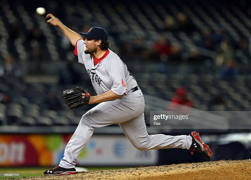 Joel Hanrahan of the Boston Red Sox delivers a pitch in the bottom of the ninth inning against the New York Yankees on April 3 2013 at Yankee Stadium...