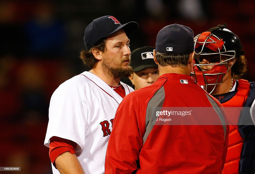 Joel Hanrahan of the Boston Red Sox is removed from the game against the Minnesota Twins at Fenway Park on May 6 2013 in Boston Massachusetts Drew...
