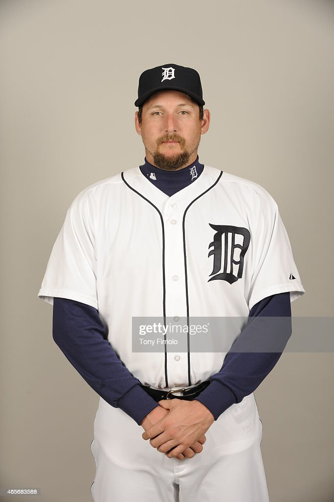 Joel Hanrahan of the Detroit Tigers poses during Photo Day on Saturday February 28 2015 at Joker Marchant Stadium in Lakeland Florida