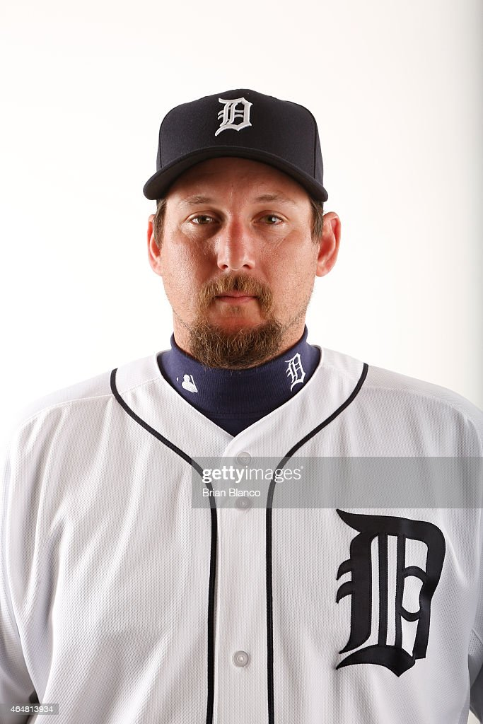 Joel Hanrahan of the Detroit Tigers poses for a photo during the Tigers' photo day on February 28 2015 at Joker Marchant Stadium in Lakeland Florida