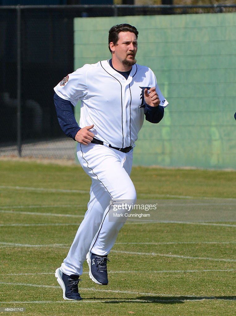 Joel Hanrahan of the Detroit Tigers runs during Spring Training workouts at the TigerTown Facility on February 21 2015 in Lakeland Florida