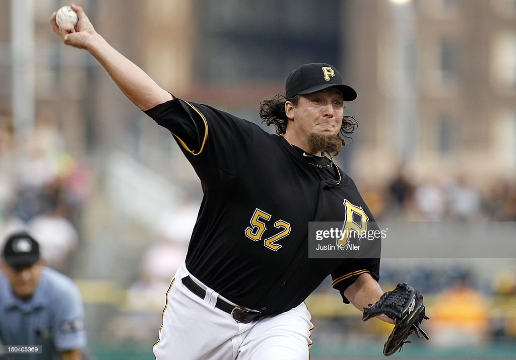 Joel Hanrahan of the Pittsburgh Pirates closes out the ninth inning against the Los Angeles Dodgers during the game on August 16 2012 at PNC Park in...