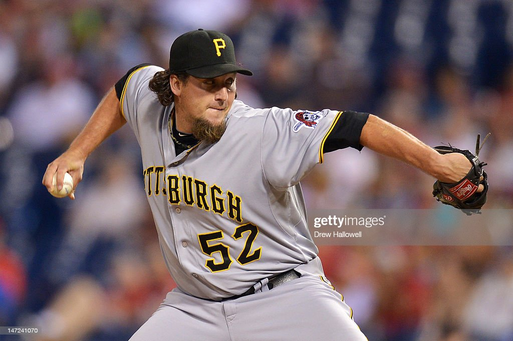Joel Hanrahan of the Pittsburgh Pirates delivers a pitch during the game against the Philadelphia Phillies at Citizens Bank Park on June 27 2012 in...
