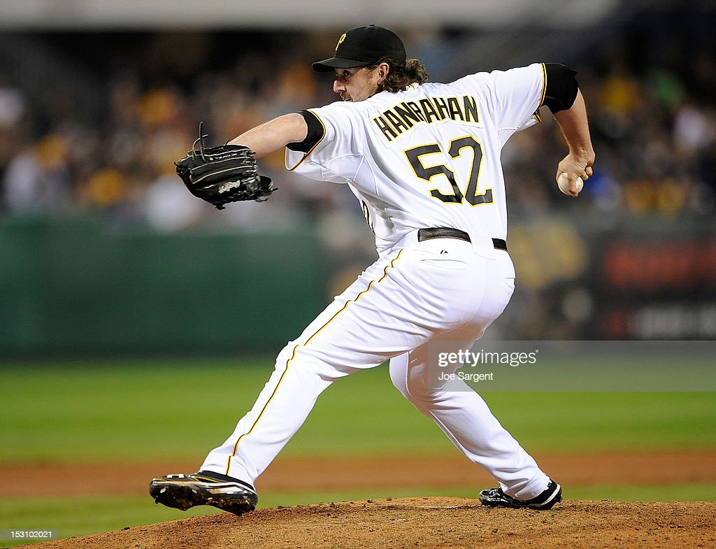 Joel Hanrahan of the Pittsburgh Pirates delivers a pitch during the ninth inning against the Cincinnati Reds on September 29 2012 at PNC Park in...