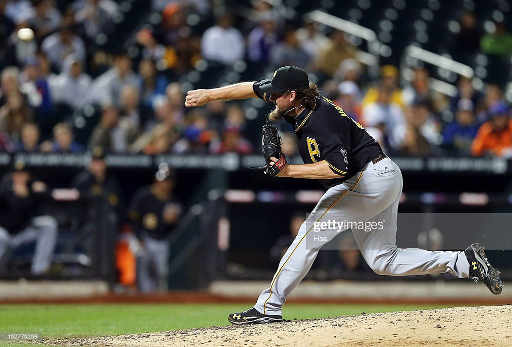 Joel Hanrahan of the Pittsburgh Pirates delivers a pitch in the ninth inning against the New York Mets on September 25 2012 at Citi Field in the...