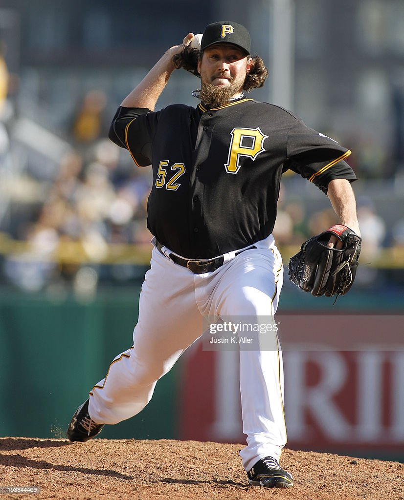 Joel Hanrahan of the Pittsburgh Pirates pitches against the Cincinnati Reds during the game on September 30 2012 at PNC Park in Pittsburgh...