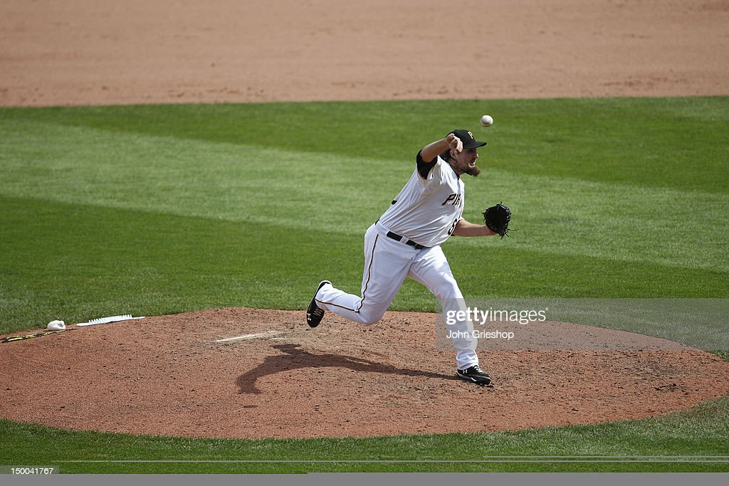 Joel Hanrahan of the Pittsburgh Pirates pitches during the game against the Miami Marlins on Sunday July 22 2012 at PNC Park in Pittsburgh...