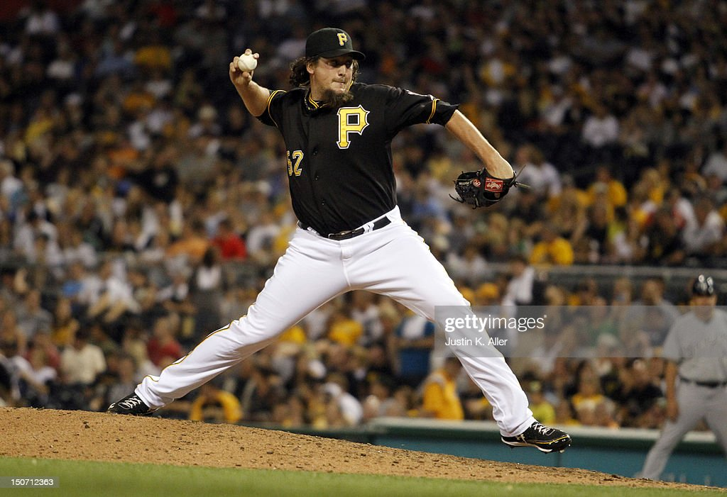 Joel Hanrahan of the Pittsburgh Pirates pitches in the ninth inning against the Milwaukee Brewers during the game on August 24 2012 at PNC Park in...