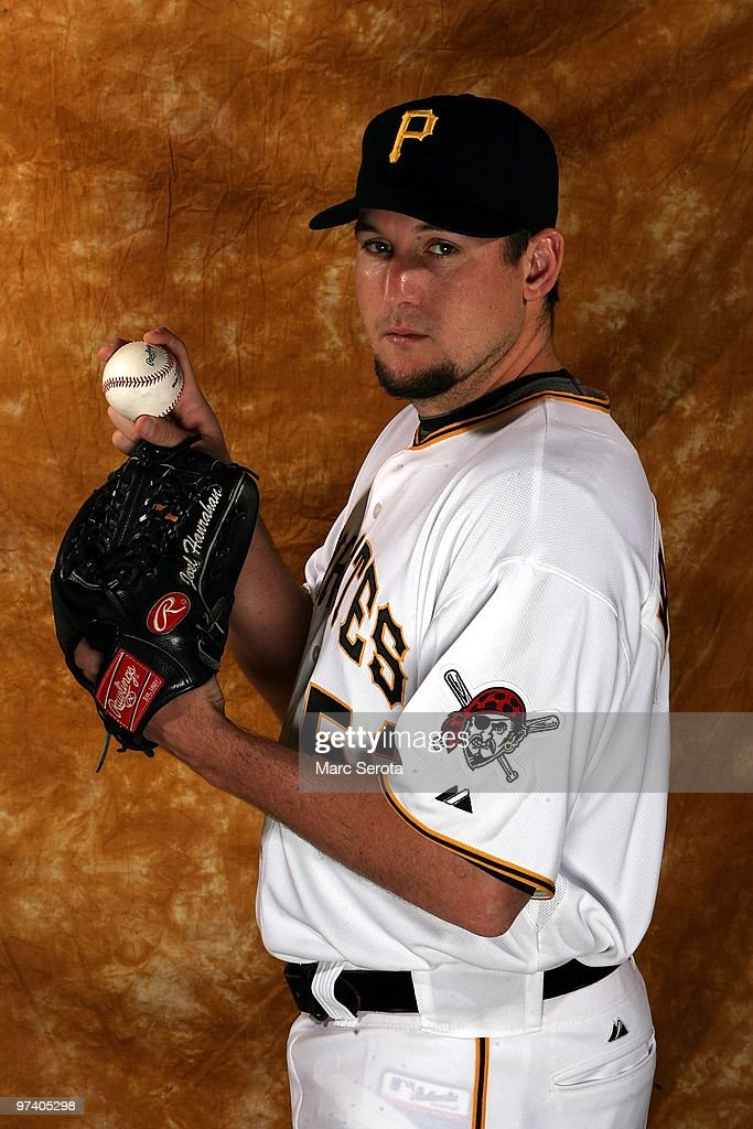Joel Hanrahan #52 of the Pittsburgh Pirates poses for photos during media day on February 28, 2010 in Bradenton, Florida.