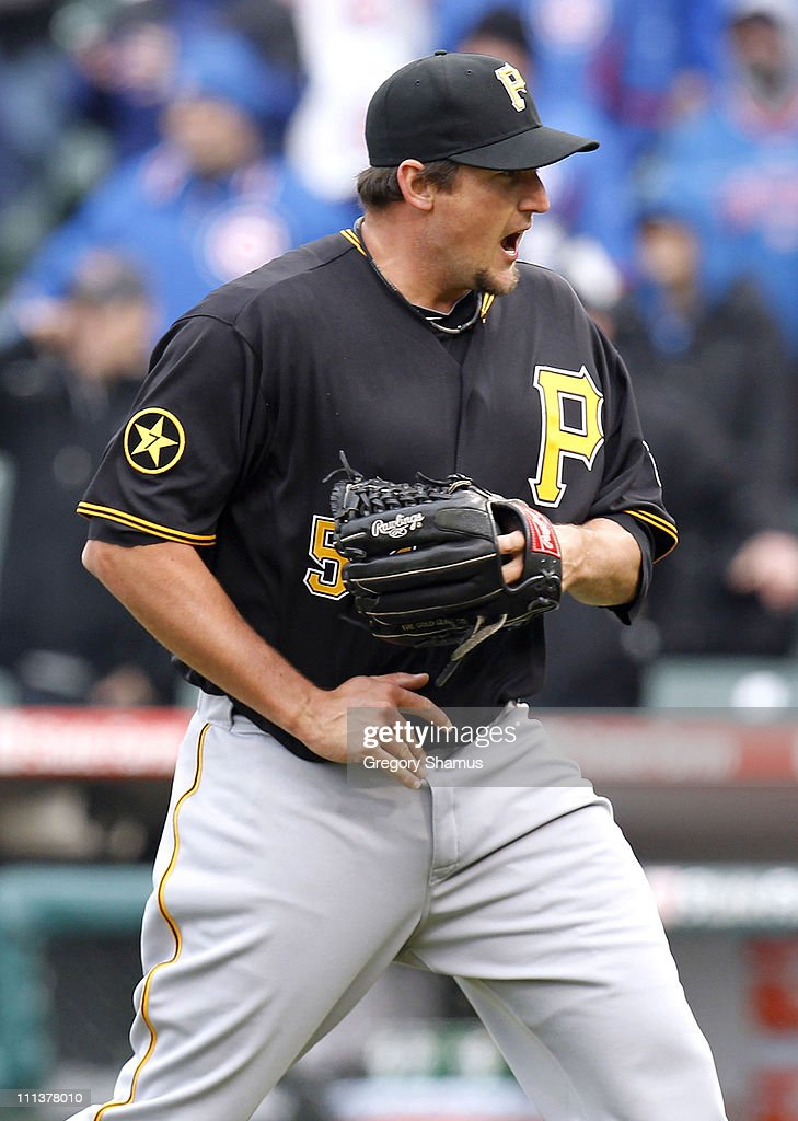 <a gi-track='captionPersonalityLinkClicked' href=/galleries/search?phrase=Joel+Hanrahan&family=editorial&specificpeople=2527864 ng-click='$event.stopPropagation()'>Joel Hanrahan</a> #52 of the Pittsburgh Pirates reacts after beating the Chicago Cubs 6-3 during opening day at Wrigley Field on April 1, 2011 in Chicago, Illinois.