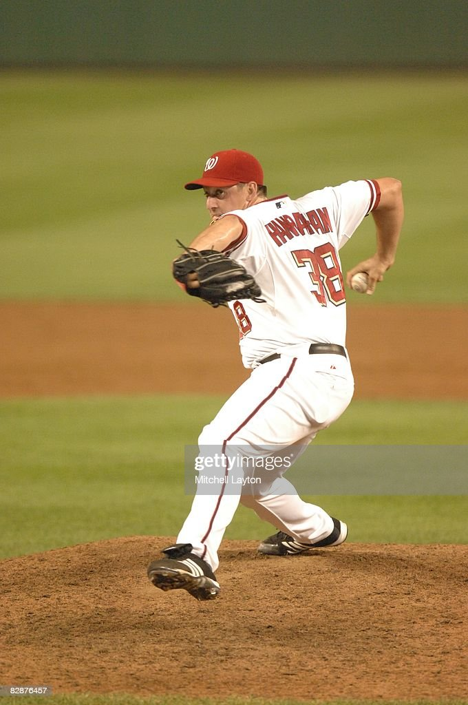 Joel Hanrahan of the Washington Nationals pitches during a baseball game against the Philadelphia Phillies on September 3 2008 at Nationals Park in...