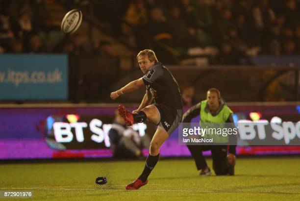 Joel Hodgson of Newcastle Falcons kicks a conversion during the AngloWelsh Cup match between Newcastle Falcons and Cardiff Blues at Kingston Park on...
