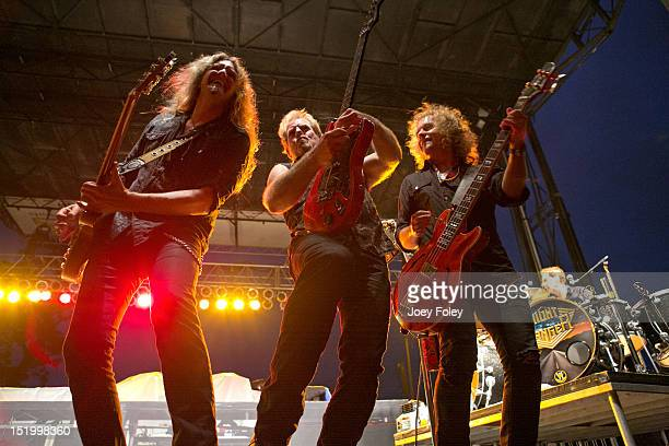Joel Hoekstra Brad Gillis Jack Blades and Kelly Keagy of the American hard rock band Night Ranger perform onstage at White River State Park on...