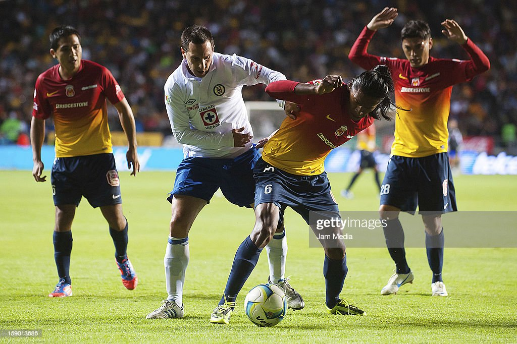 Joel Huiqui (R) of Morelia struggles for the ball with Christian Gimenez (L) of Cruz Azul during a match as part of the Clausura 2013 Liga MX at Morelos Stadium on january 04, 2013 in Morelia, Mexico.