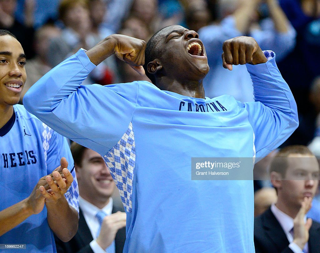 Joel James #0 of the North Carolina Tar Heels reacts during a win over the Georgia Tech Yellow Jackets during play at the Dean Smith Center on January 23, 2013 in Chapel Hill, North Carolina. North Carolina won 79-63.