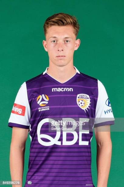 Joel Knowles poses during the Perth Glory 2017/18 ALeague season headshots session on September 15 2017 in Perth Australia