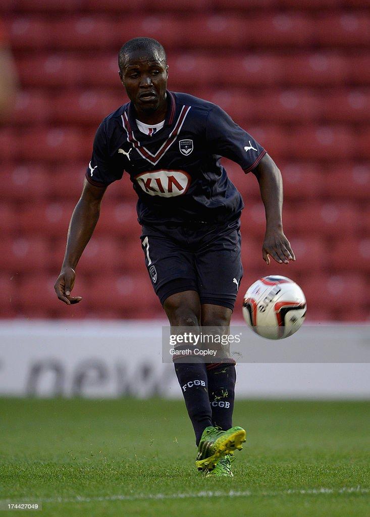 Joel Landry Nguemo of Bordeaux during a Pre Season Friendly between Barnsley and Bordeaux at Oakwell Stadium on July 25, 2013 in Barnsley, England.
