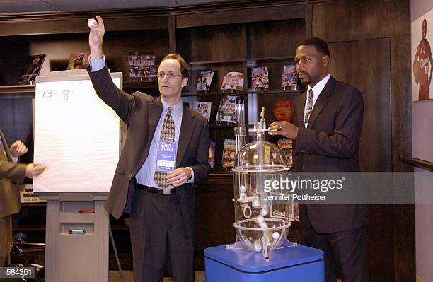 Joel Litvin NBA Exececutive Vice President announces the winning combination at Sunday's NBA Draft Lottery to team representatives in a separate room...