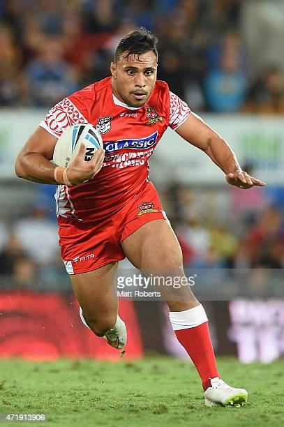 Joel Luani of Tonga runs with the ball during the International Test Match between TOA Samoa and Tonga at Cbus Super Stadium on May 2 2015 on the...
