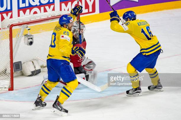 Joel Lundqvist and Marcus Kruger celebrates a goal in the net of Goalie Calvin Pickard during the Ice Hockey World Championship Gold medal game...