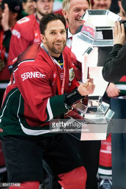 Joel Lundqvist celebrates after winning the Champions Hockey League Final between Frolunda Gothenburg and Sparta Prague at Frolundaborgs Isstadion on...