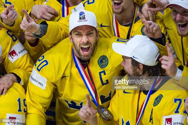 Joel Lundqvist celebrates the win over Canada during the Ice Hockey World Championship Gold medal game between Canada and Sweden at Lanxess Arena in...