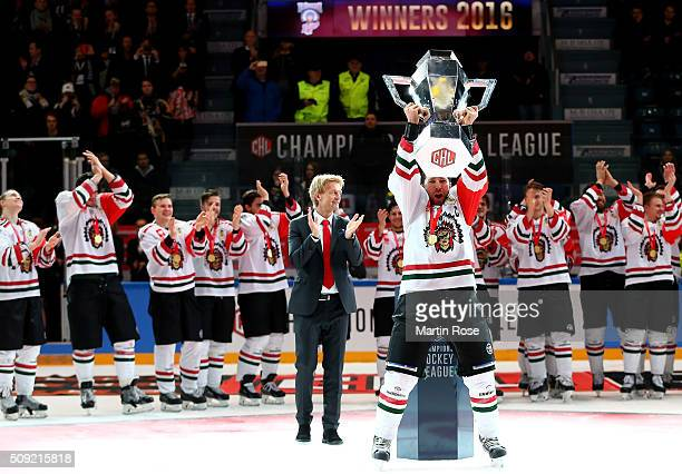 Joel Lundqvist of Gothenburg lifts the trophy after winning the Champions Hockey League final game between Karpat Oulu and Frolunda Gothenburg at...