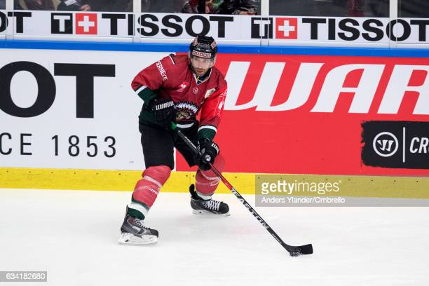 Joel Lundqvist of the Frolunda Gothenburg controls the puck during the Champions Hockey League Final between Frolunda Gothenburg and Sparta Prague at...