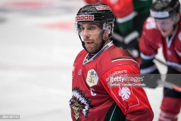 Joel Lundqvist of the Frolunda Gothenburg reacts during the Champions Hockey League Final between Frolunda Gothenburg and Sparta Prague at...