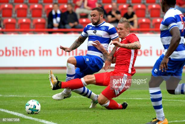 Joel Lynch of the Queenspark Rangers and Sebastian Polter of 1FC Union Berlin during the game between Union Berlin and the Queens Park Rangers on...