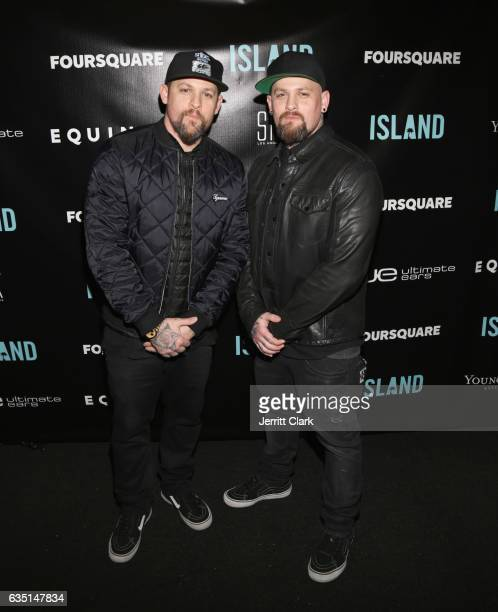 Joel Madden and Benji Madden of Good Charlotte attend Island Records PreGrammy Party Presented by Foursquare with additional partners Young Living...