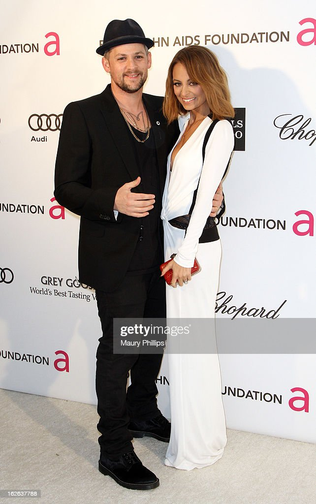 Joel Madden (L) and Nicole Richie arrive at the 21st Annual Elton John AIDS Foundation Academy Awards Viewing Party at Pacific Design Center on February 24, 2013 in West Hollywood, California.