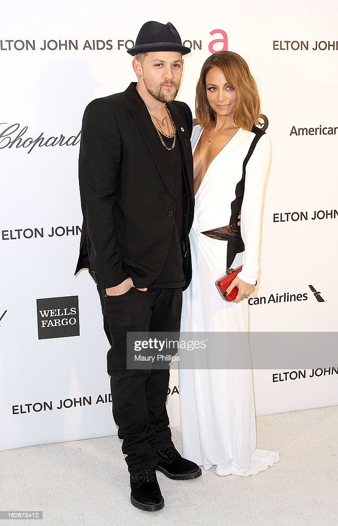 Joel Madden and Nicole Richie arrive at the 21st Annual Elton John AIDS Foundation Academy Awards Viewing Party at Pacific Design Center on February 24, 2013 in West Hollywood, California.