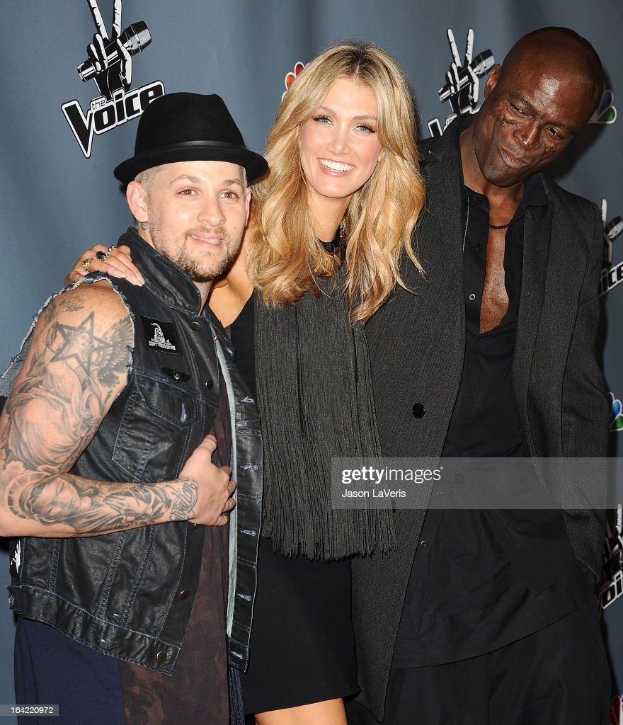 Joel Madden, Delta Goodrem and Seal attend NBC's 'The Voice' season 4 premiere at TCL Chinese Theatre on March 20, 2013 in Hollywood, California.