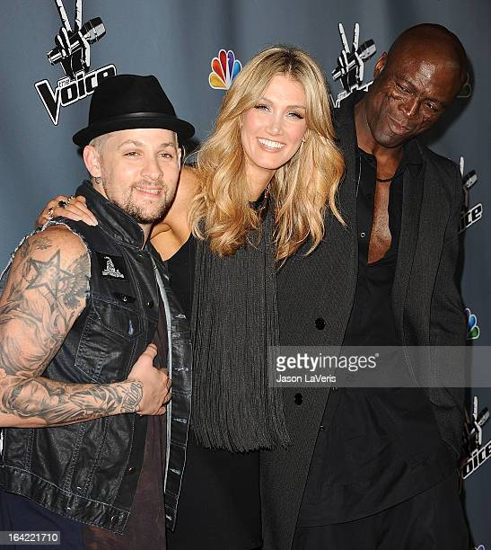 Joel Madden Delta Goodrem and Seal attend NBC's 'The Voice' season 4 premiere at TCL Chinese Theatre on March 20 2013 in Hollywood California