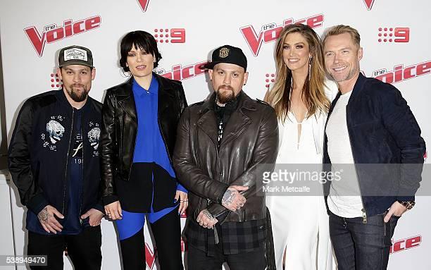 Joel Madden Jessie J Benji Madden Delta Goodrem and Ronan Keating pose at the Voice 2016 Live Show Launch on June 9 2016 in Sydney Australia