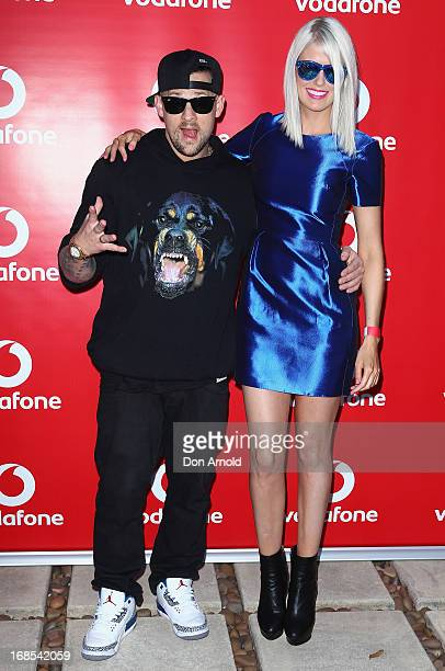 Joel Madden poses alongside Georgia Sinclair at Joel and Benji Madden's housewarming party in Point Piper on May 11 2013 in Sydney Australia