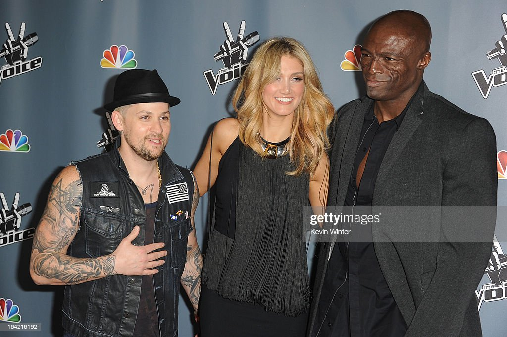 Joel Madden,Delta Goodrem and Seal arrive at the screening of NBC's 'The Voice' Season 4 at TCL Chinese Theatre on March 20, 2013 in Hollywood, California.