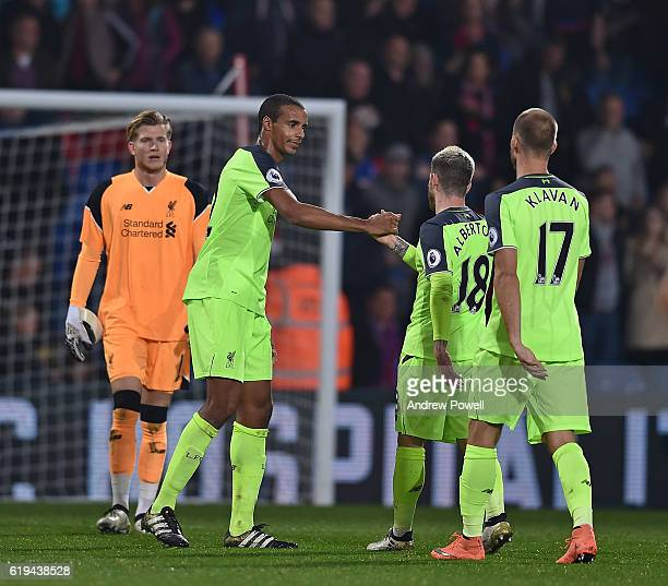 Joel Matip and Alberto Moreno of Liverpool at the end of the Premier League match between Crystal Palace and Liverpool at Selhurst Park on October 29...