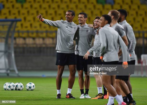 Joel Matip Dejan Lovren and Andrew Robertson of Liverpool during a training session at Stadion Ljudski vrt on October 16 2017 in Maribor Slovenia