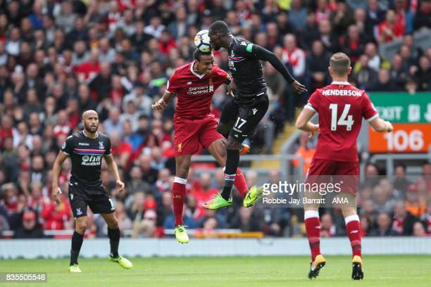Joel Matip of Liverpool and Christian Benteke of Crystal Palace during the Premier League match between Liverpool and Crystal Palace at Anfield on...