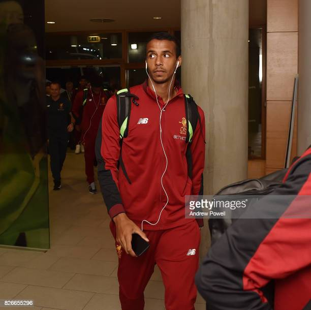 Joel Matip of Liverpool arrives before a pre season friendly match between Liverpool and Athletic Bilbao at Aviva Stadium on August 5 2017 in Dublin...