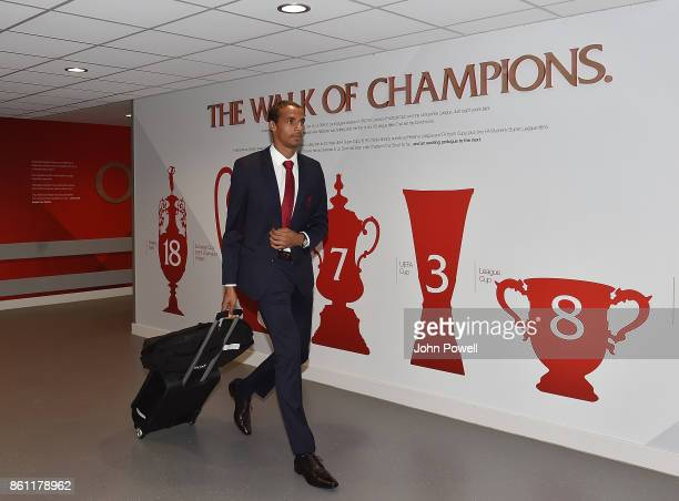 Joel Matip of Liverpool before the Premier League match between Liverpool and Manchester United at Anfield on October 14 2017 in Liverpool England