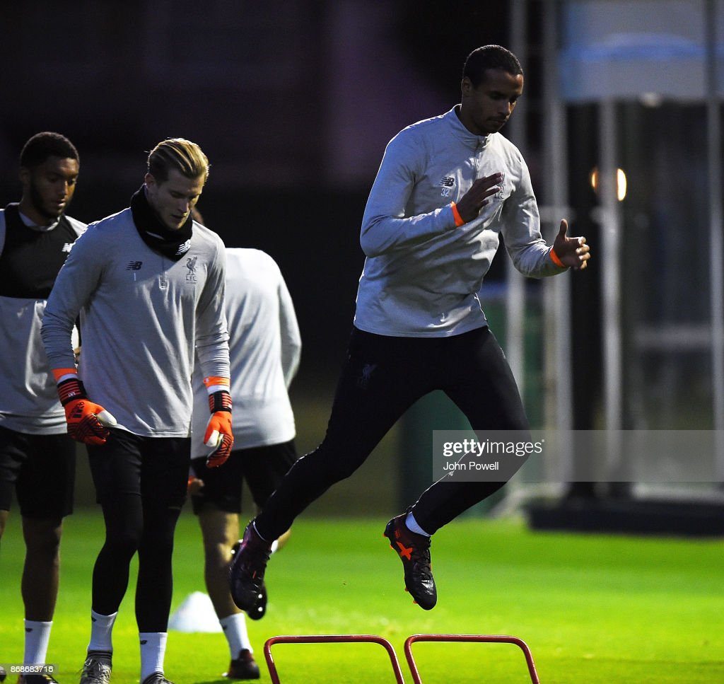 Joel Matip of Liverpool during a Liverpool training session at Melwood Training Ground on October 31, 2017 in Liverpool, England.