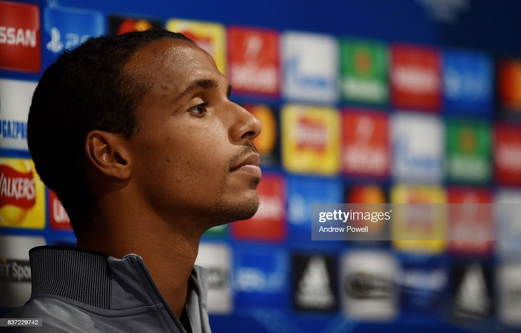 Joel Matip of Liverpool during a press conference at Anfield on August 22, 2017 in Liverpool, England.