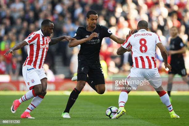 Joel Matip of Liverpool in action during the Premier League match between Stoke City and Liverpool at Bet365 Stadium on April 8 2017 in Stoke on...