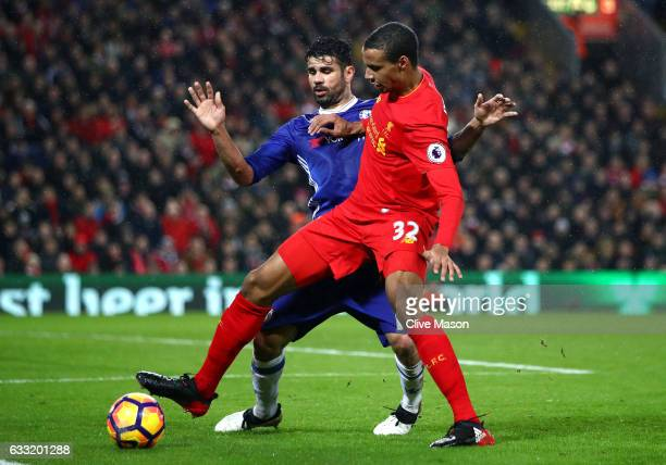 Joel Matip of Liverpool is closed down by Diego Costa of Chelsea during the Premier League match between Liverpool and Chelsea at Anfield on January...