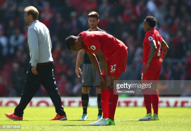 Joel Matip of Liverpool reacts after the Premier League match between Liverpool and Southampton at Anfield on May 7 2017 in Liverpool England